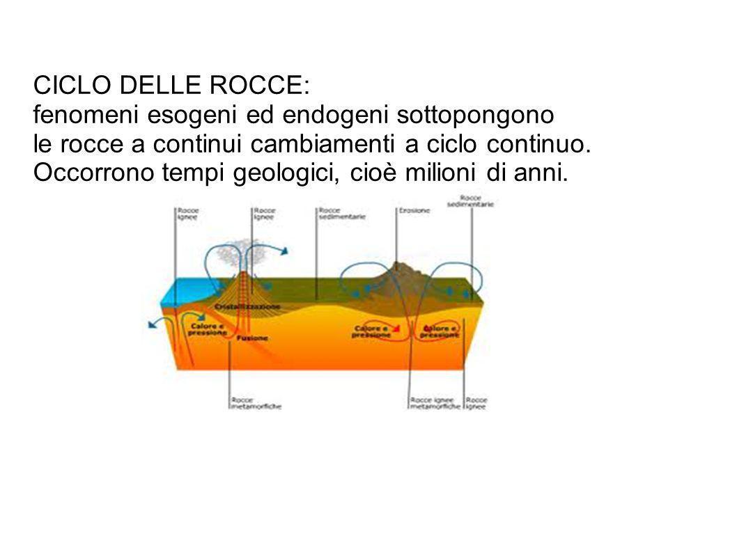 CICLO DELLE ROCCE: fenomeni esogeni ed endogeni sottopongono le rocce a continui cambiamenti a ciclo continuo. Occorrono tempi geologici, cioè milioni