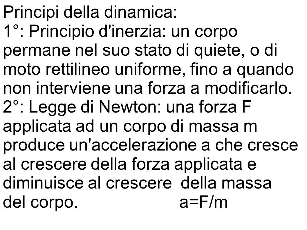 Principi della dinamica: 1°: Principio d'inerzia: un corpo permane nel suo stato di quiete, o di moto rettilineo uniforme, fino a quando non intervien