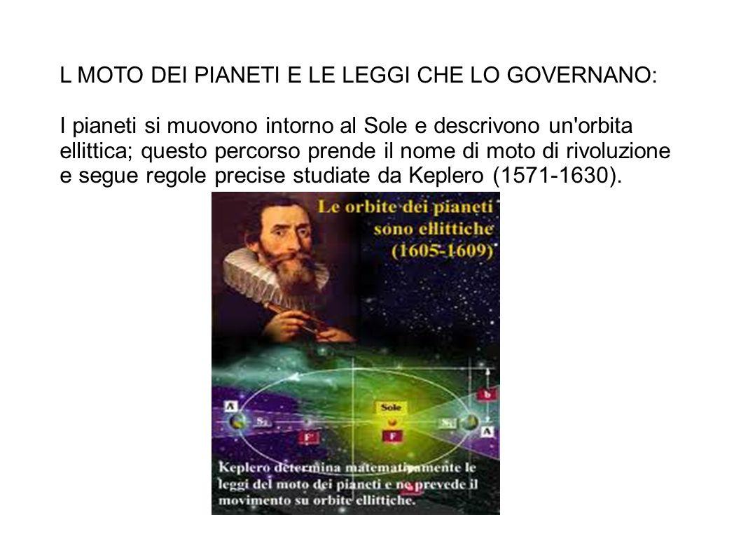 L MOTO DEI PIANETI E LE LEGGI CHE LO GOVERNANO: I pianeti si muovono intorno al Sole e descrivono un orbita ellittica; questo percorso prende il nome di moto di rivoluzione e segue regole precise studiate da Keplero (1571-1630).