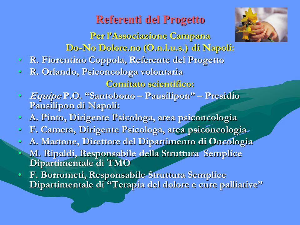 Referenti del Progetto Per l'Associazione Campana Do-No Dolore.no (O.n.l.u.s.) di Napoli: R.
