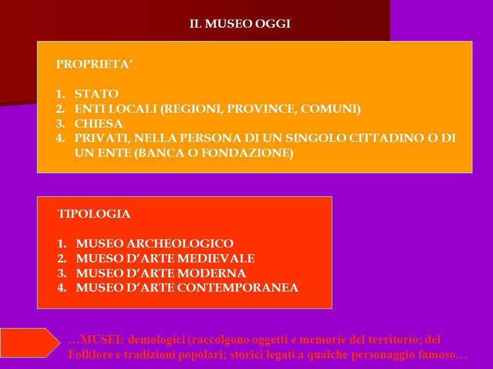 IL MUSEO OGGI PROPRIETA' 1.STATO 2.ENTI LOCALI (REGIONI, PROVINCE, COMUNI) 3.CHIESA 4.PRIVATI, NELLA PERSONA DI UN SINGOLO CITTADINO O DI UN ENTE (BANCA O FONDAZIONE) TIPOLOGIA 1.MUSEO ARCHEOLOGICO 2.MUESO D'ARTE MEDIEVALE 3.MUSEO D'ARTE MODERNA 4.MUSEO D'ARTE CONTEMPORANEA …MUSEI: demologici (raccolgono oggetti e memorie del territorio; del Folklore e tradizioni popolari; storici legati a qualche personaggio famoso…