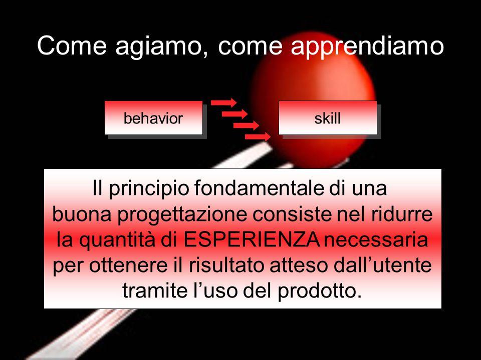 behavior skill Il principio fondamentale di una buona progettazione consiste nel ridurre la quantità di ESPERIENZA necessaria per ottenere il risultat