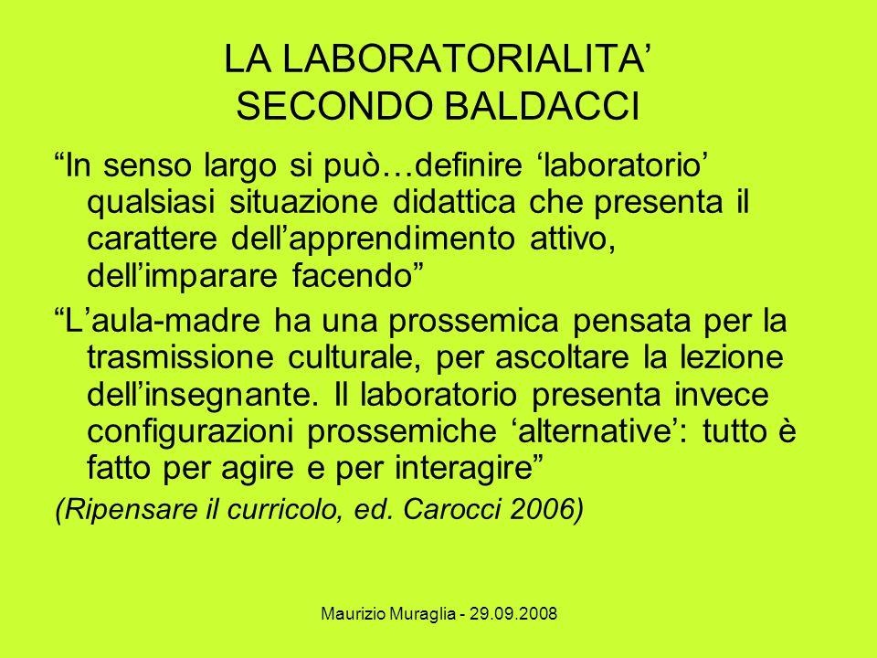 """Maurizio Muraglia - 29.09.2008 LA LABORATORIALITA' SECONDO BALDACCI """"In senso largo si può…definire 'laboratorio' qualsiasi situazione didattica che p"""
