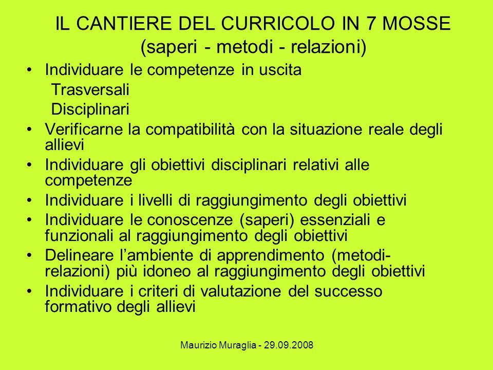 Maurizio Muraglia - 29.09.2008 IL CANTIERE DEL CURRICOLO IN 7 MOSSE (saperi - metodi - relazioni) Individuare le competenze in uscita Trasversali Disc