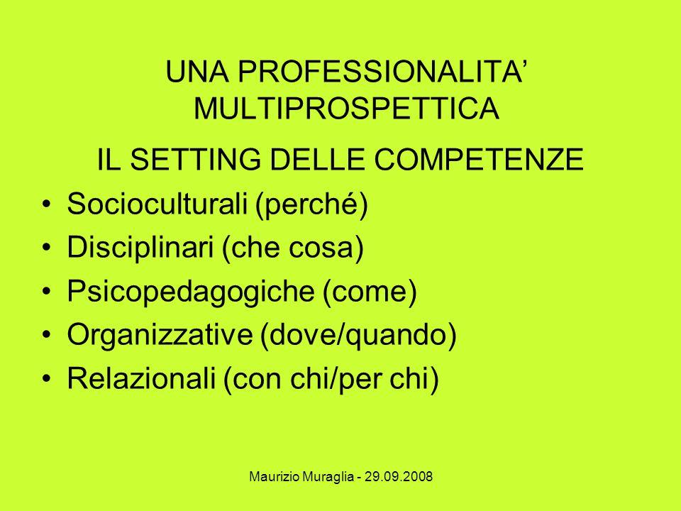 Maurizio Muraglia - 29.09.2008 UNA PROFESSIONALITA' MULTIPROSPETTICA IL SETTING DELLE COMPETENZE Socioculturali (perché) Disciplinari (che cosa) Psico