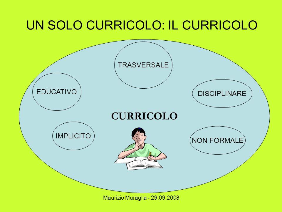 Maurizio Muraglia - 29.09.2008 UN SOLO CURRICOLO: IL CURRICOLO CURRICOLO EDUCATIVO NON FORMALE IMPLICITO TRASVERSALE DISCIPLINARE