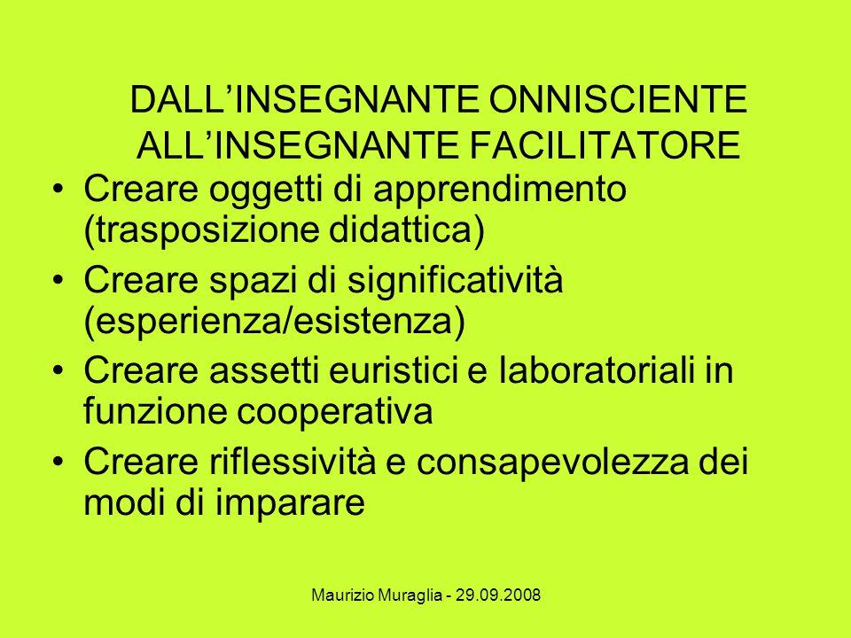 Maurizio Muraglia - 29.09.2008 DALL'INSEGNANTE ONNISCIENTE ALL'INSEGNANTE FACILITATORE Creare oggetti di apprendimento (trasposizione didattica) Crear