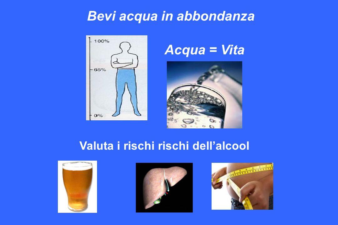 Acqua = Vita Bevi acqua in abbondanza Valuta i rischi rischi dell'alcool