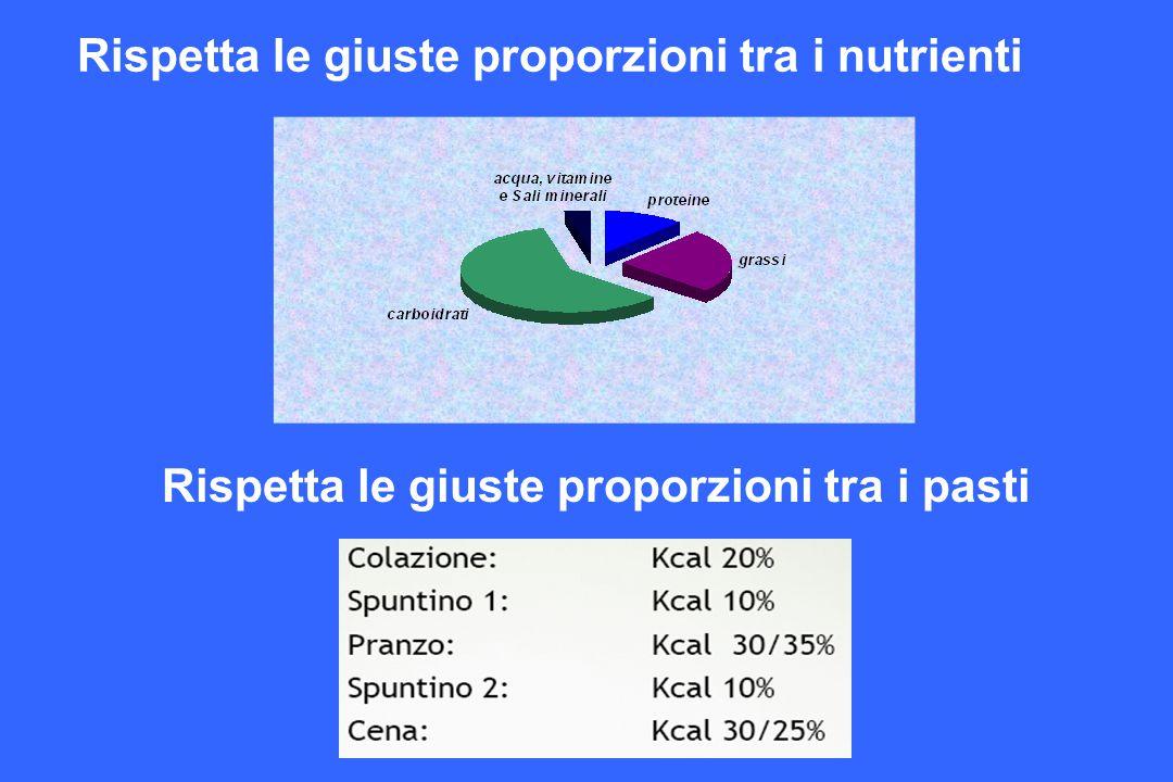 Rispetta le giuste proporzioni tra i nutrienti Rispetta le giuste proporzioni tra i pasti