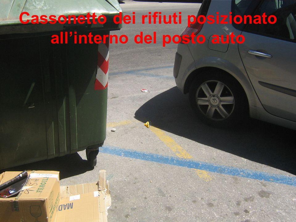 Cassonetto dei rifiuti posizionato all'interno del posto auto