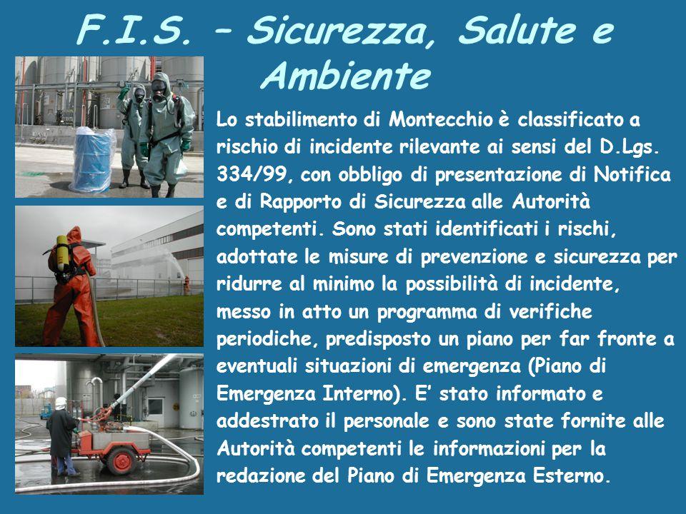 Lo stabilimento di Montecchio è classificato a rischio di incidente rilevante ai sensi del D.Lgs.