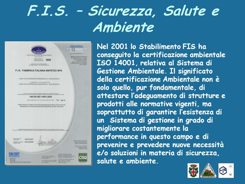 Nel 2001 lo Stabilimento FIS ha conseguito la certificazione ambientale ISO 14001, relativa al Sistema di Gestione Ambientale.