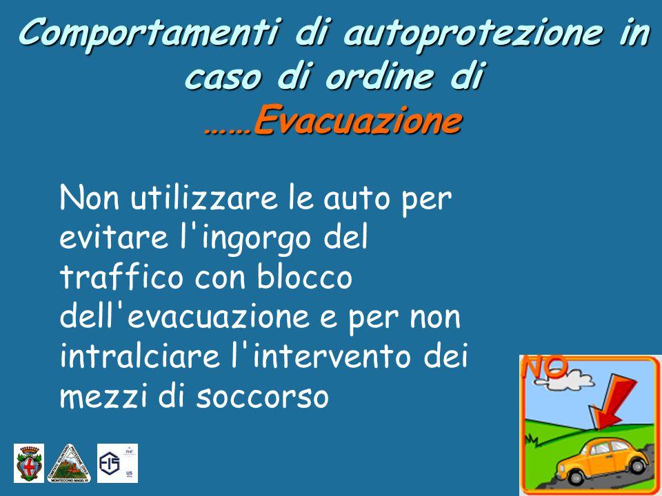 Non utilizzare le auto per evitare l ingorgo del traffico con blocco dell evacuazione e per non intralciare l intervento dei mezzi di soccorso Comportamenti di autoprotezione in caso di ordine di ……Evacuazione