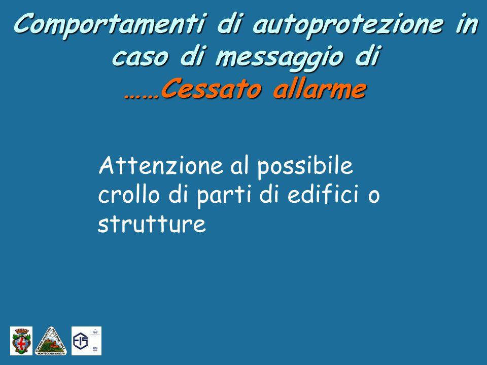 Attenzione al possibile crollo di parti di edifici o strutture Comportamenti di autoprotezione in caso di messaggio di ……Cessato allarme