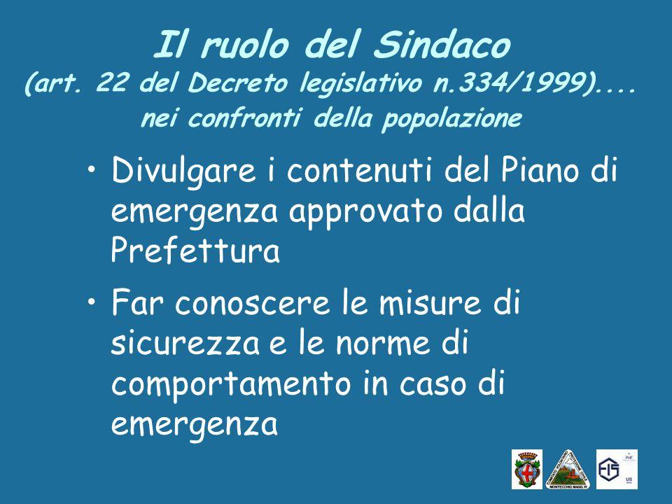 Il ruolo del Sindaco (art. 22 del Decreto legislativo n.334/1999)....