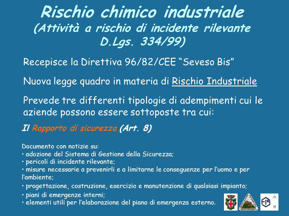 Rischio chimico industriale (Attività a rischio di incidente rilevante D.Lgs.