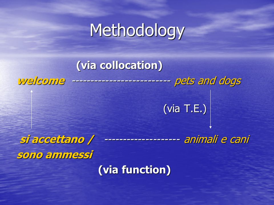 Methodology (via collocation) (via collocation) welcome -------------------------- pets and dogs (via T.E.) (via T.E.) si accettano / ----------------