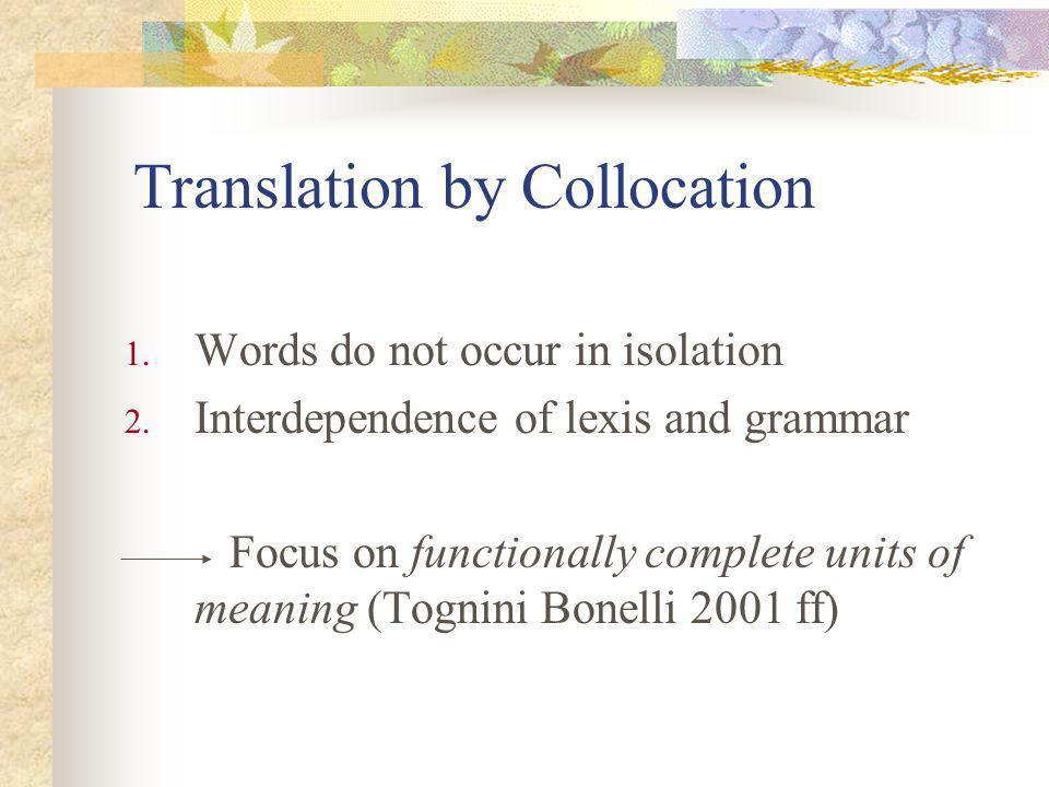 Conclusions At word level non-equivalence Nature = natura The intercollocation of collocates natura + incontaminata - circostante Collocates: unspoilt - surrounding countryside Collocational level functional equivalence