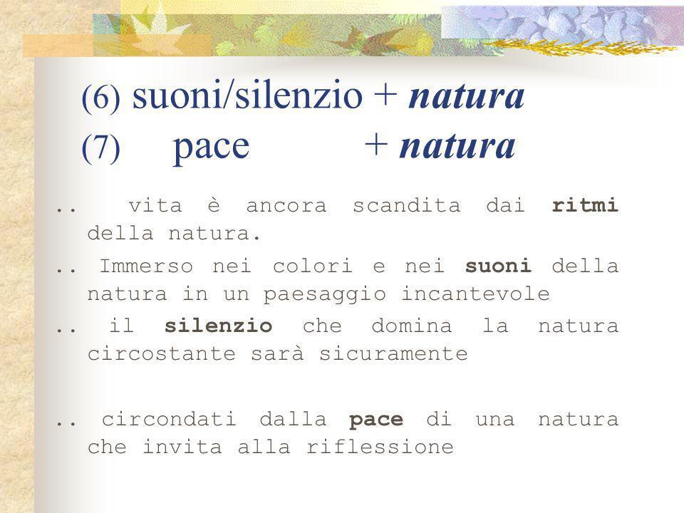 natura: collocational profile natura (1) incontaminata/intatta natura(2) circostante natura (3) a contatto/simbiosi/immersa natura (4) amanti/amore natura (5) bellezze/fascino natura (6) suoni/ritmi/silenzio natura (7) pace (Step 1)