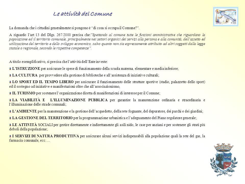 Le entrate principali Per poter fornire servizi alla collettività il Comune ha acquistato risorse da ENTE S T A T O C I T T A D I N I R E G I O N E S E T T O R I P U B B L I C I ENTRATE TRIBUTARIE € € 3.374.166,27 ENTRATE EXTRATRIBUTARIE€ 2.501.479,23