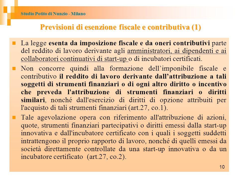 Studio Potito di Nunzio - Milano Previsioni di esenzione fiscale e contributiva (1) La legge esenta da imposizione fiscale e da oneri contributivi parte del reddito di lavoro derivante agli amministratori, ai dipendenti e ai collaboratori continuativi di start-up o di incubatori certificati.