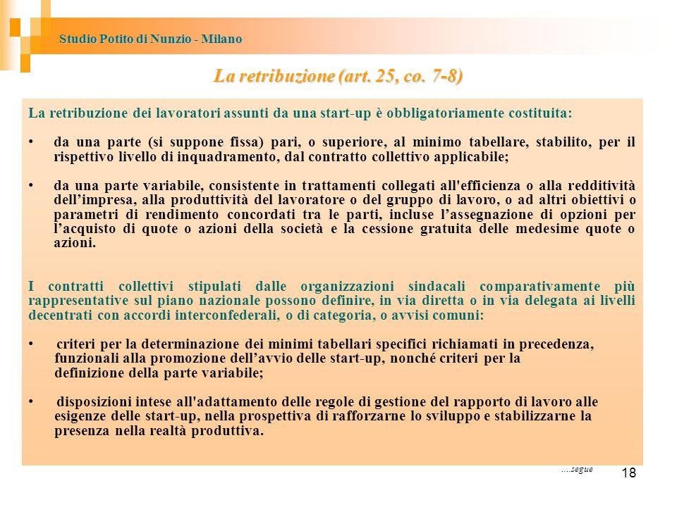 Studio Potito di Nunzio - Milano La retribuzione (art.