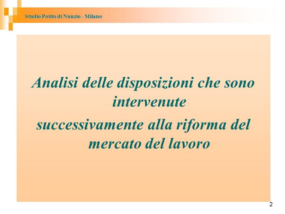 Studio Potito di Nunzio - Milano 2 Analisi delle disposizioni che sono intervenute successivamente alla riforma del mercato del lavoro 2