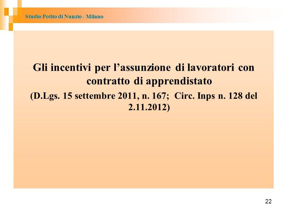 Studio Potito di Nunzio - Milano Gli incentivi per l'assunzione di lavoratori con contratto di apprendistato (D.Lgs.