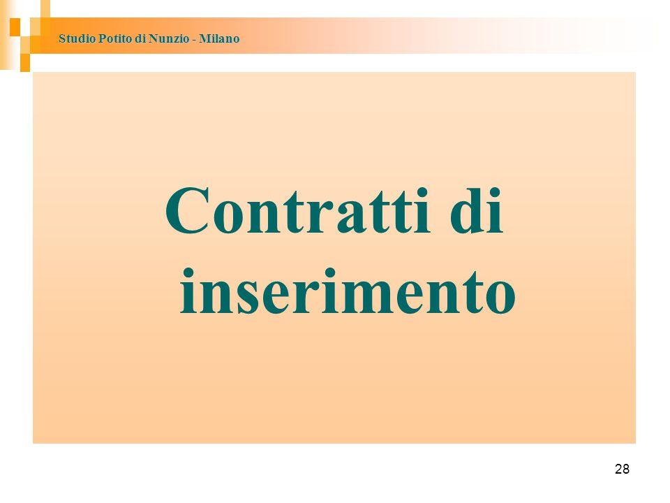 Studio Potito di Nunzio - Milano 28 Contratti di inserimento