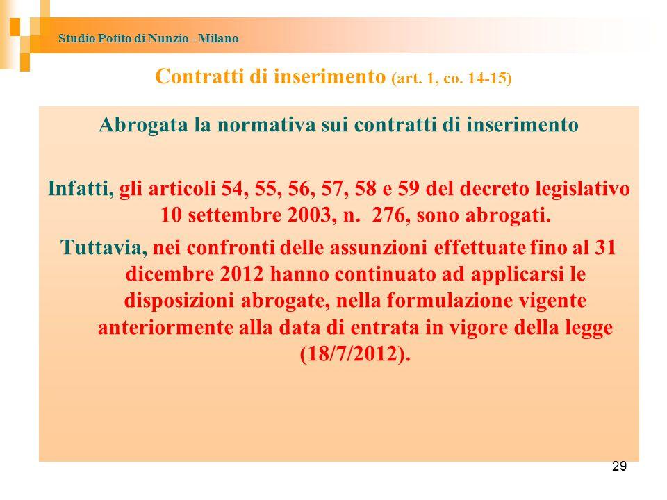 Studio Potito di Nunzio - Milano Contratti di inserimento (art.
