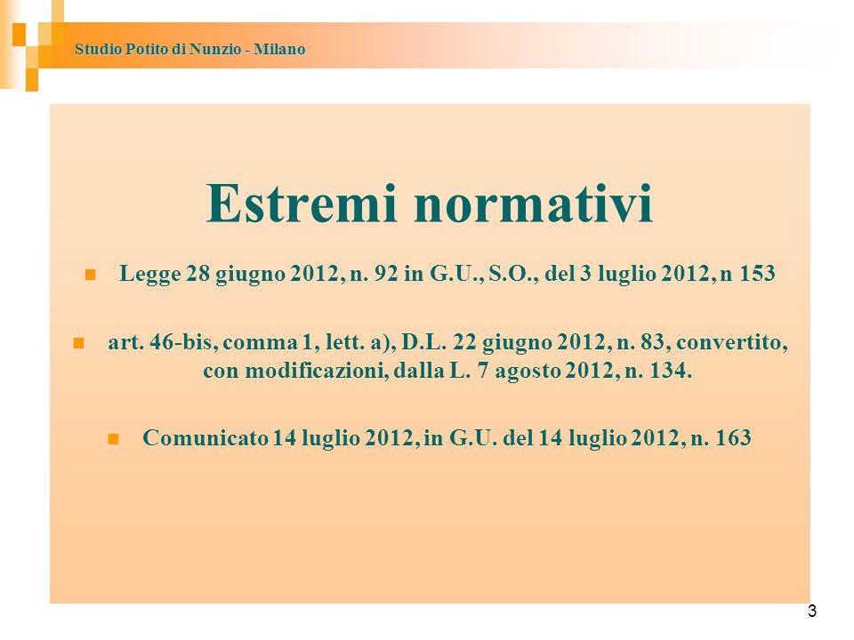 Studio Potito di Nunzio - Milano 3 Estremi normativi Legge 28 giugno 2012, n.