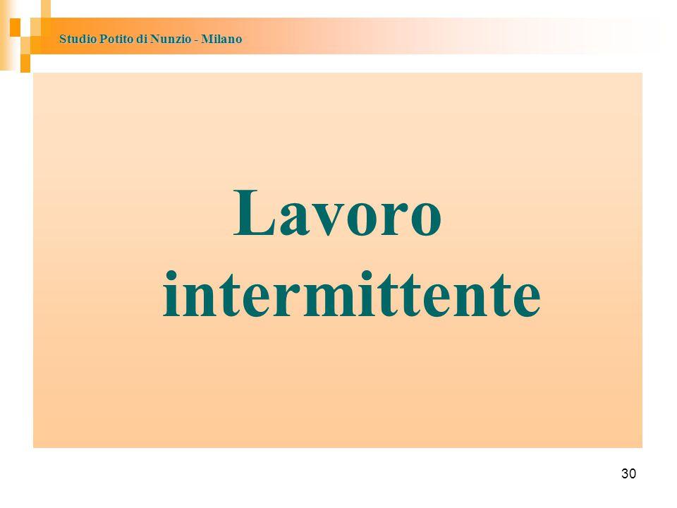Studio Potito di Nunzio - Milano 30 Lavoro intermittente