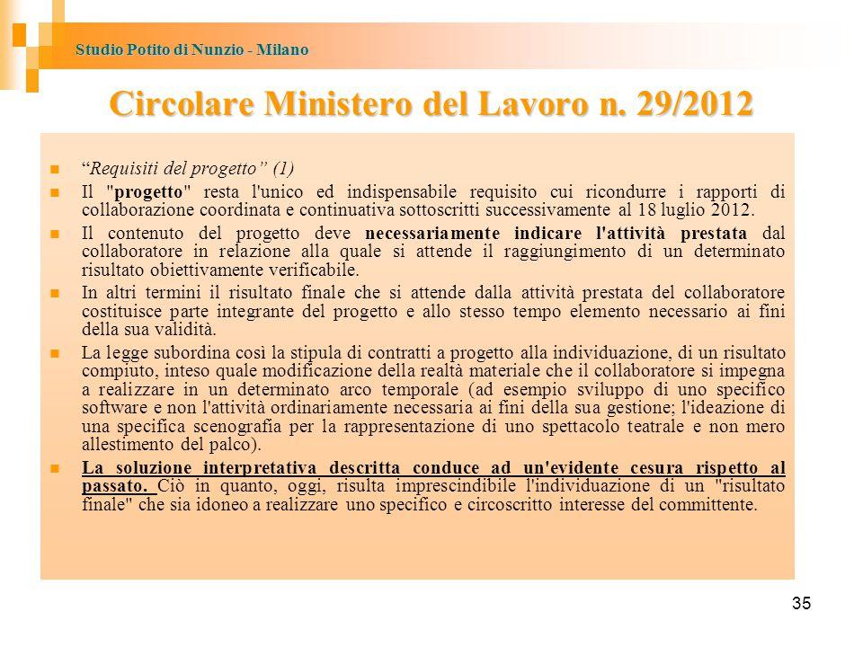 Studio Potito di Nunzio - Milano 35 Circolare Ministero del Lavoro n.