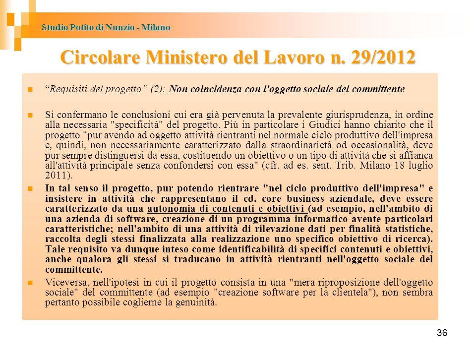 Studio Potito di Nunzio - Milano 36 Circolare Ministero del Lavoro n.