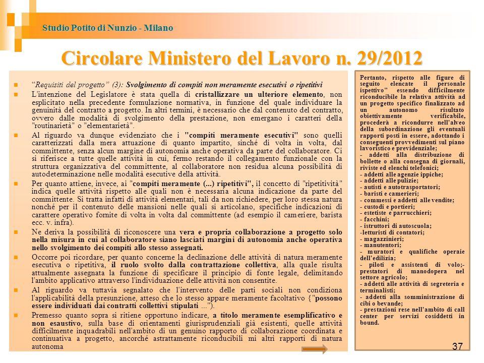 Studio Potito di Nunzio - Milano 37 Circolare Ministero del Lavoro n.