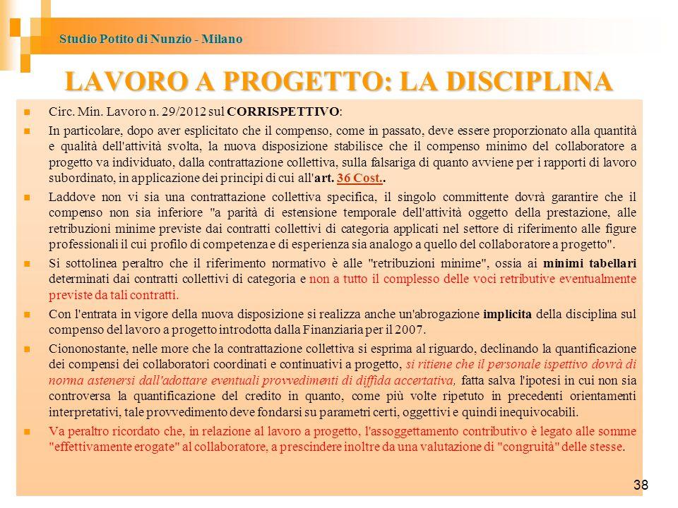 Studio Potito di Nunzio - Milano 38 LAVORO A PROGETTO: LA DISCIPLINA Circ.