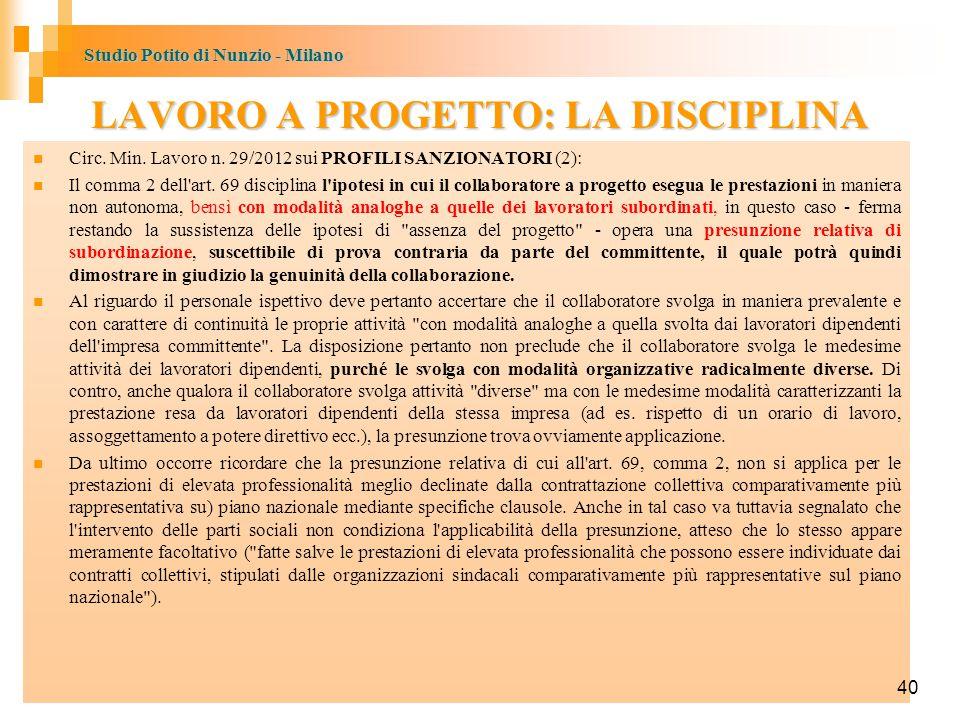Studio Potito di Nunzio - Milano 40 LAVORO A PROGETTO: LA DISCIPLINA Circ.