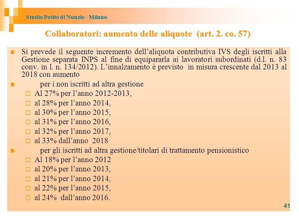 Studio Potito di Nunzio - Milano Si prevede il seguente incremento dell'aliquota contributiva IVS degli iscritti alla Gestione separata INPS al fine di equipararla ai lavoratori subordinati (d.l.