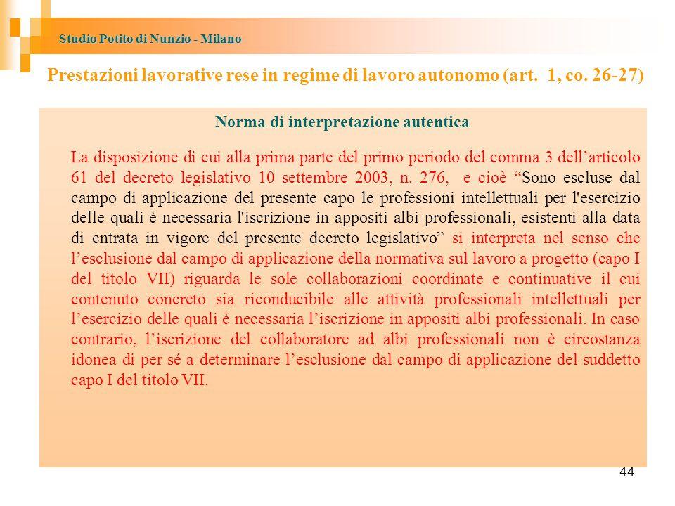 Studio Potito di Nunzio - Milano Norma di interpretazione autentica La disposizione di cui alla prima parte del primo periodo del comma 3 dell'articolo 61 del decreto legislativo 10 settembre 2003, n.