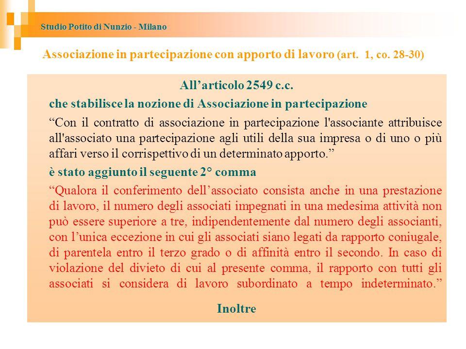 Studio Potito di Nunzio - Milano Associazione in partecipazione con apporto di lavoro (art.
