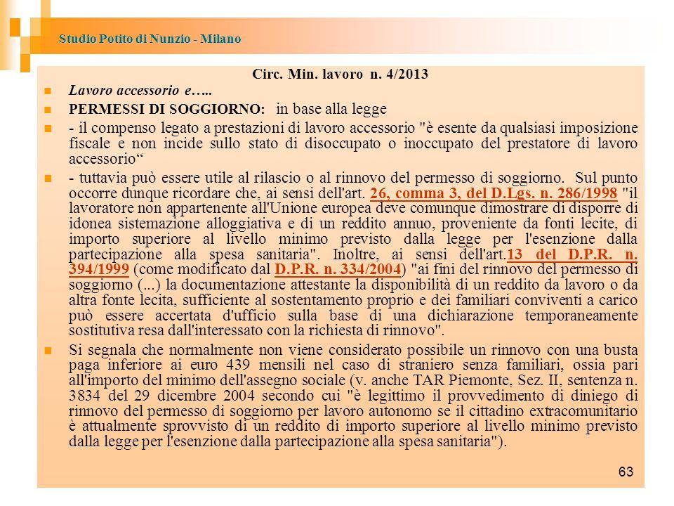 Studio Potito di Nunzio - Milano Circ.Min. lavoro n.