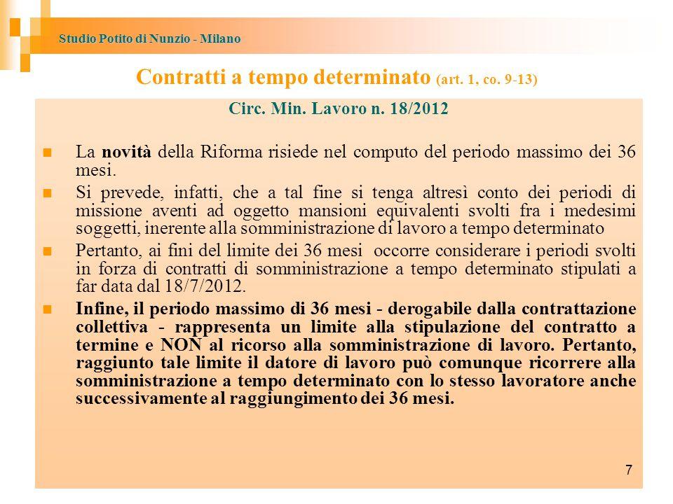 Studio Potito di Nunzio - Milano Contratti a tempo determinato (art.