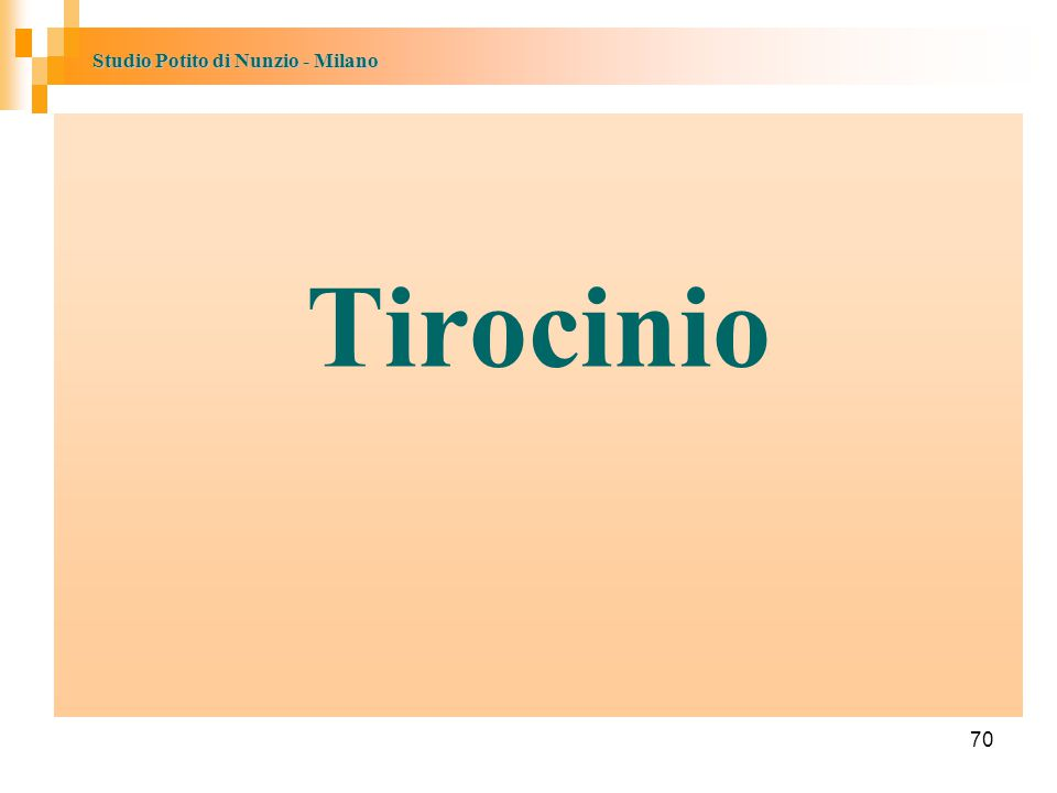 Studio Potito di Nunzio - Milano 70 Tirocinio