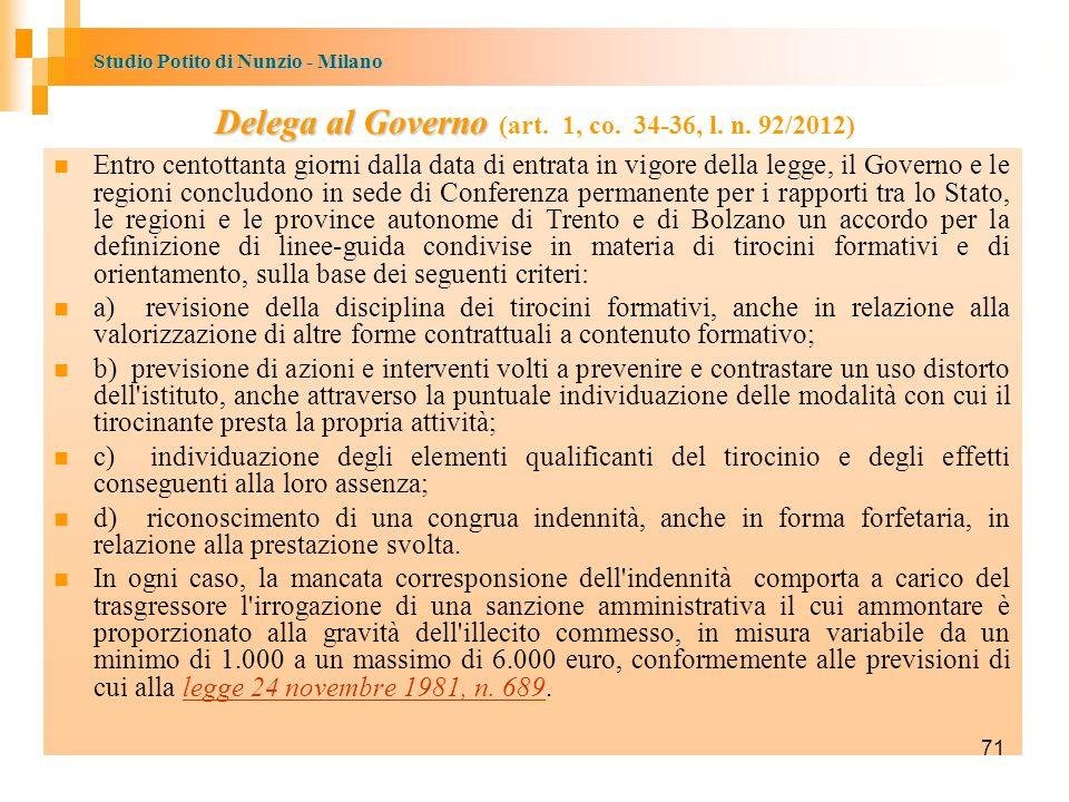 Studio Potito di Nunzio - Milano Delega al Governo Delega al Governo (art.