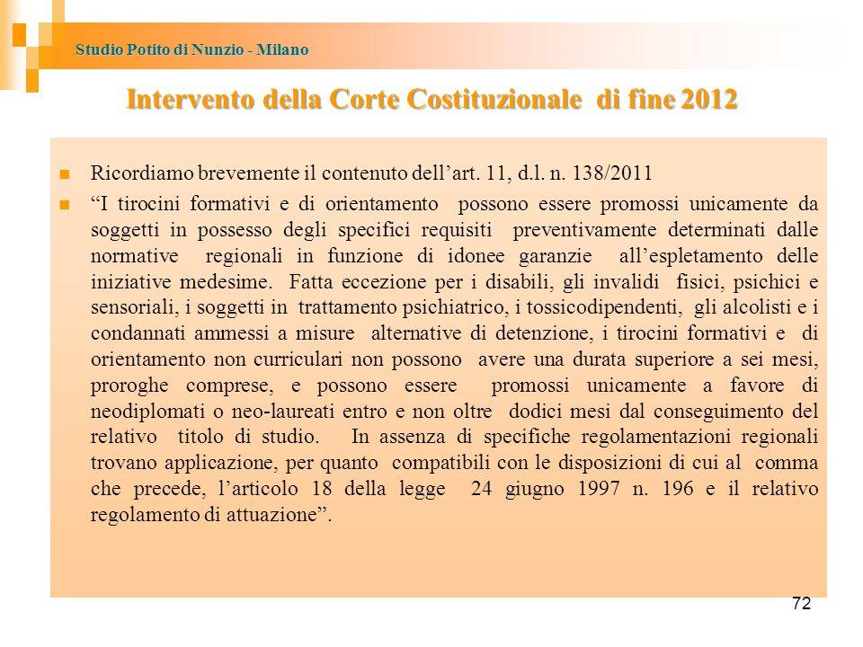 Studio Potito di Nunzio - Milano Intervento della Corte Costituzionale di fine 2012 Ricordiamo brevemente il contenuto dell'art.