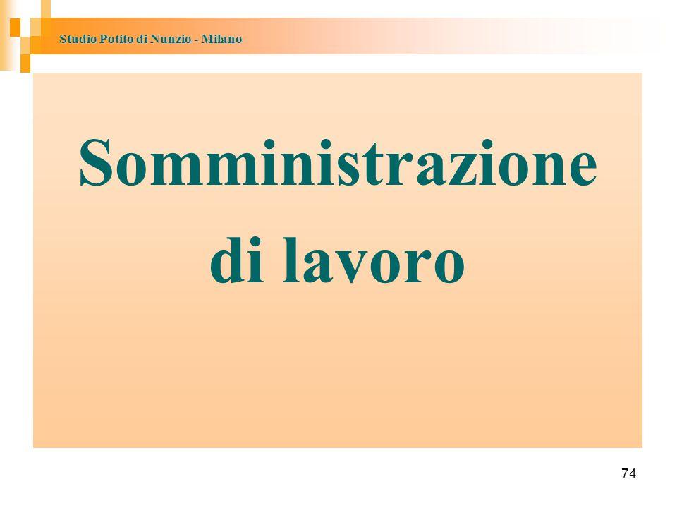 Studio Potito di Nunzio - Milano 74 Somministrazione di lavoro