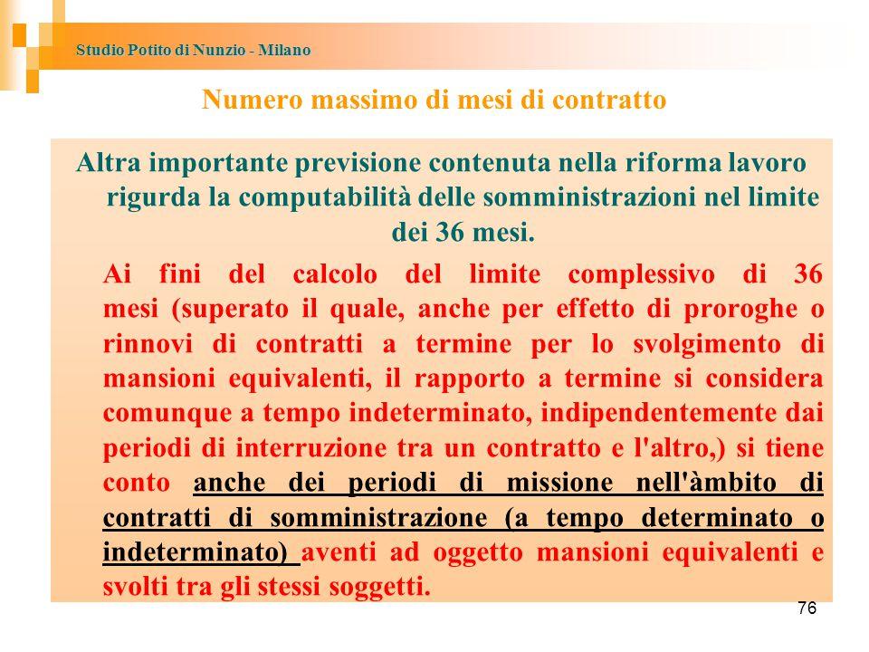 Studio Potito di Nunzio - Milano Numero massimo di mesi di contratto Altra importante previsione contenuta nella riforma lavoro rigurda la computabilità delle somministrazioni nel limite dei 36 mesi.