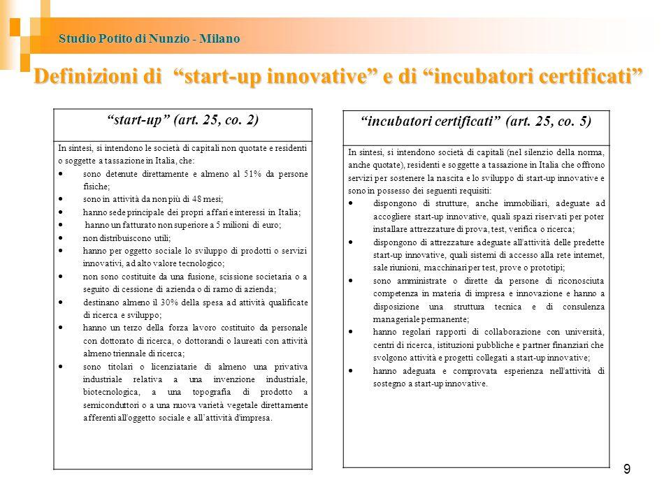 Studio Potito di Nunzio - Milano Definizioni di start-up innovative e di incubatori certificati start-up (art.
