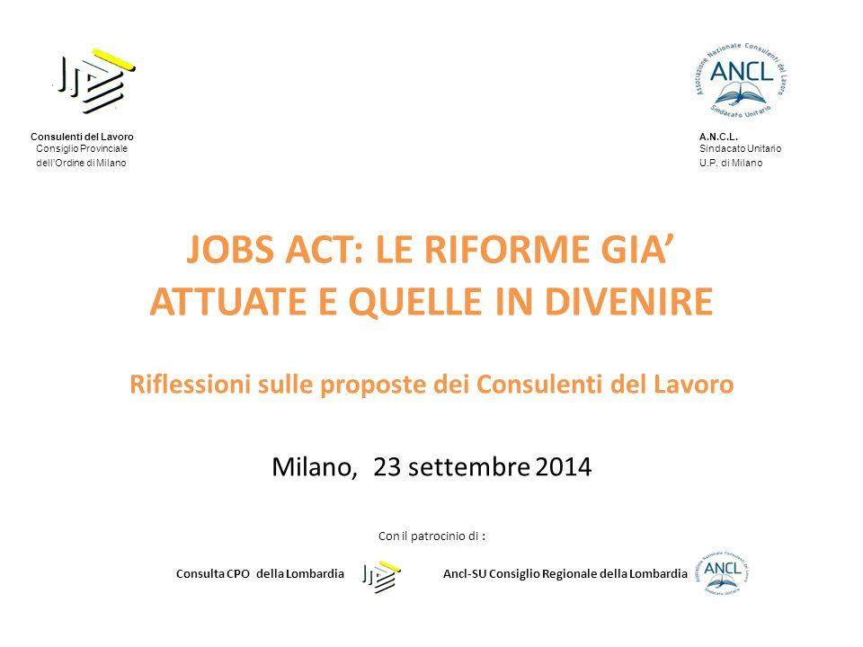 JOBS ACT: LE RIFORME GIA' ATTUATE E QUELLE IN DIVENIRE Riflessioni sulle proposte dei Consulenti del Lavoro Milano, 23 settembre 2014 Con il patrocini