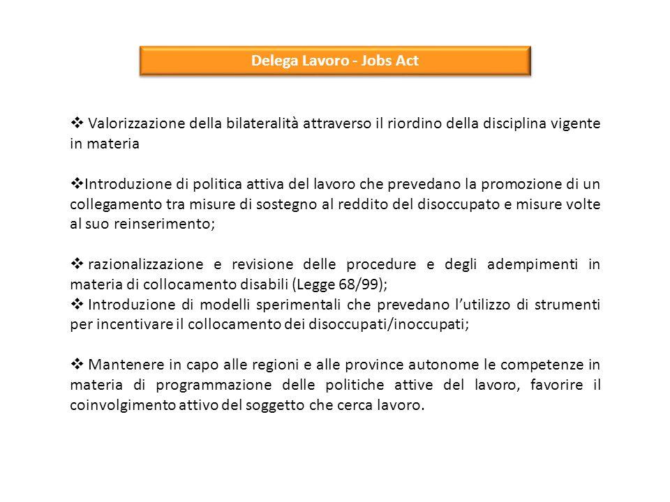 Delega Lavoro - Jobs Act  Valorizzazione della bilateralità attraverso il riordino della disciplina vigente in materia  Introduzione di politica att
